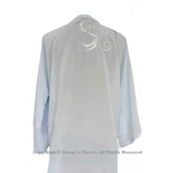 UC115 - Light Blue Shawl with Sliver Flower Embroidery