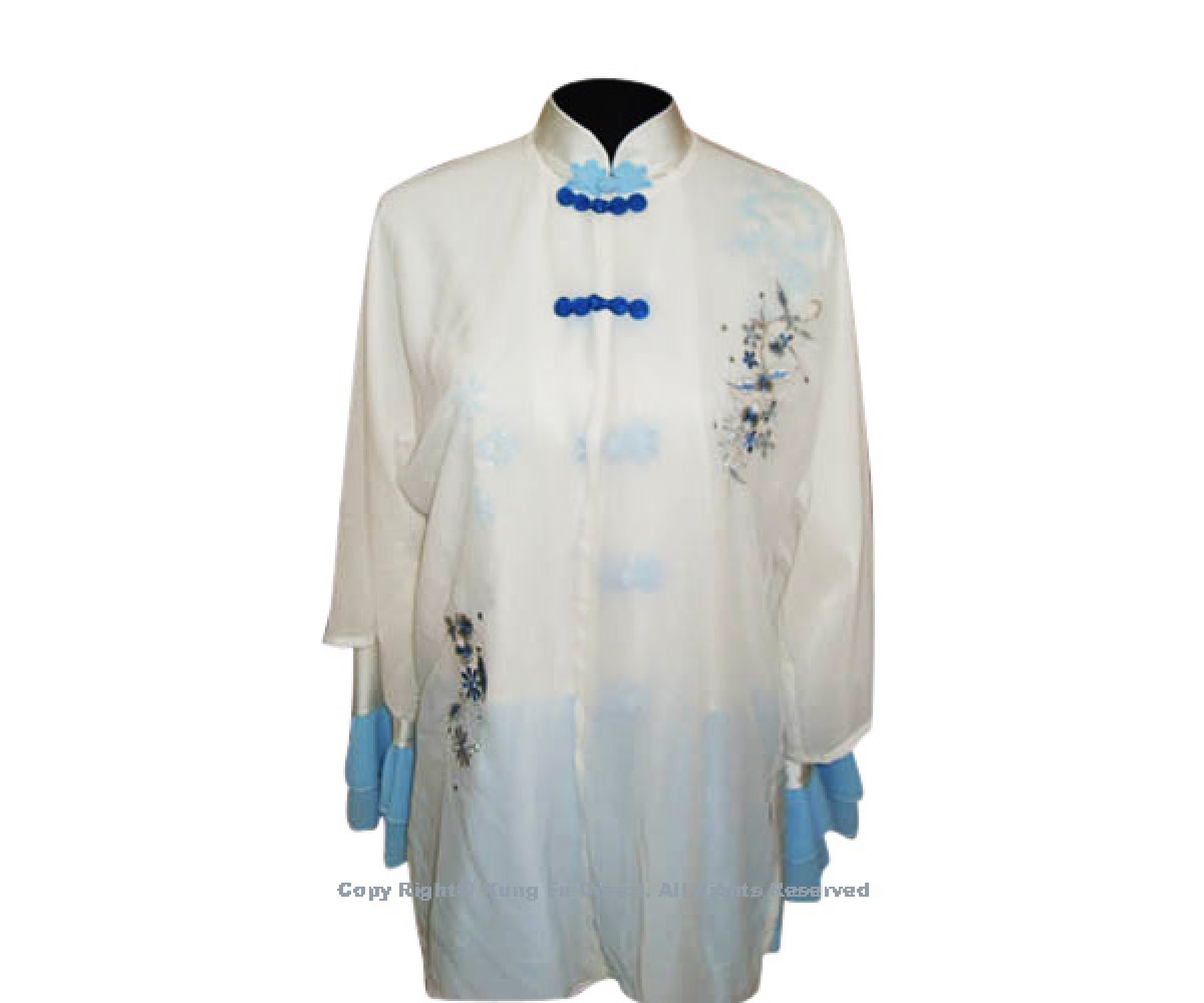 UC116 - White Shawl with Blue Buttons/Flower Embroidery- Shawl Only