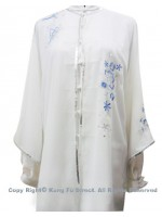 UC118 - White Shawl with Blue Flower Embroidery/Sliver Color Trim- Shawl Only