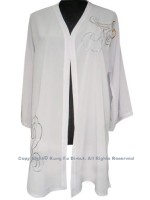UC119 - White Shawl with Sliver/Orange Flower Embroidery
