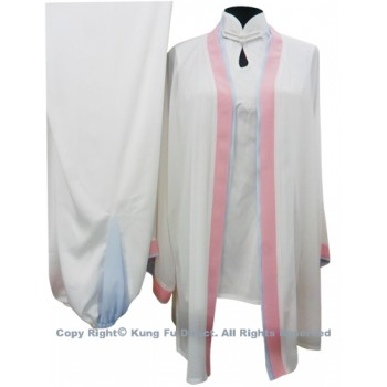 UC120 - White Shawl with Light Blue/Pink Trim- Shawl Only