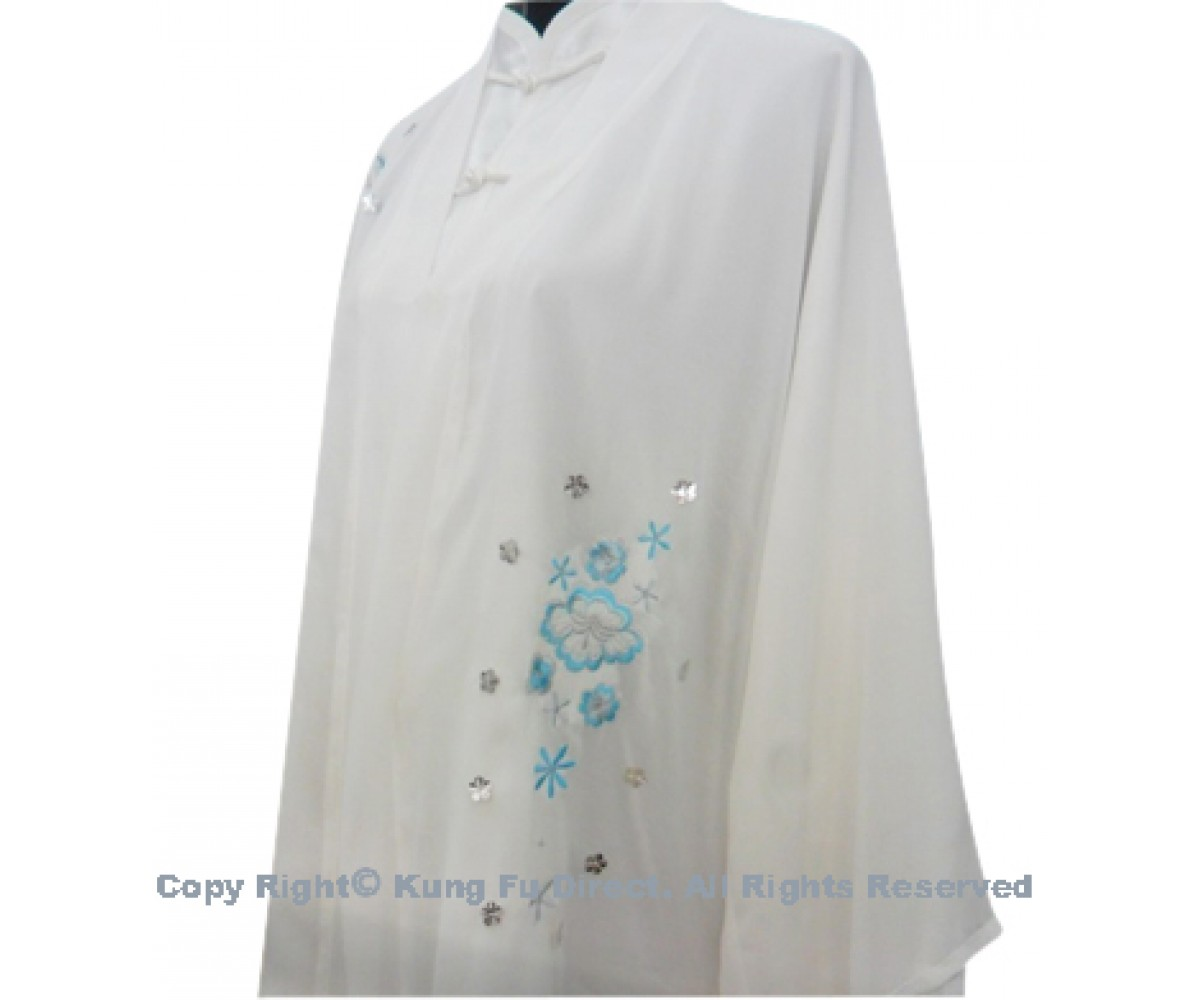 UC121 - White Shawl with light Blue Flower Embroidery- Shawl Only