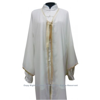 UC122 - White Shawl with Dark Gold Trim- Shawl Only