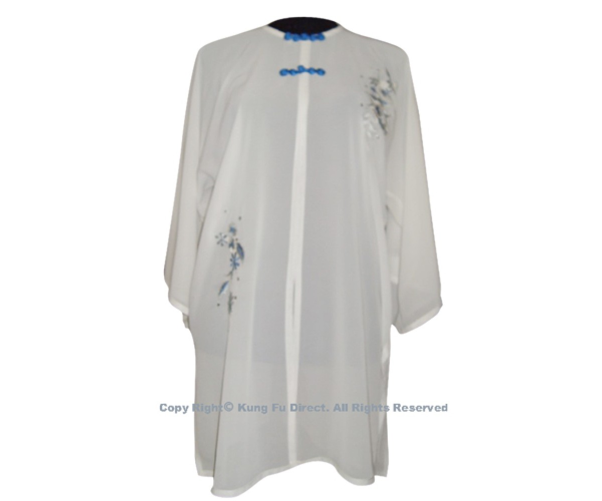 UC125 - White Shawl with Sliver/Blue Flower Embroidery and Blue Button