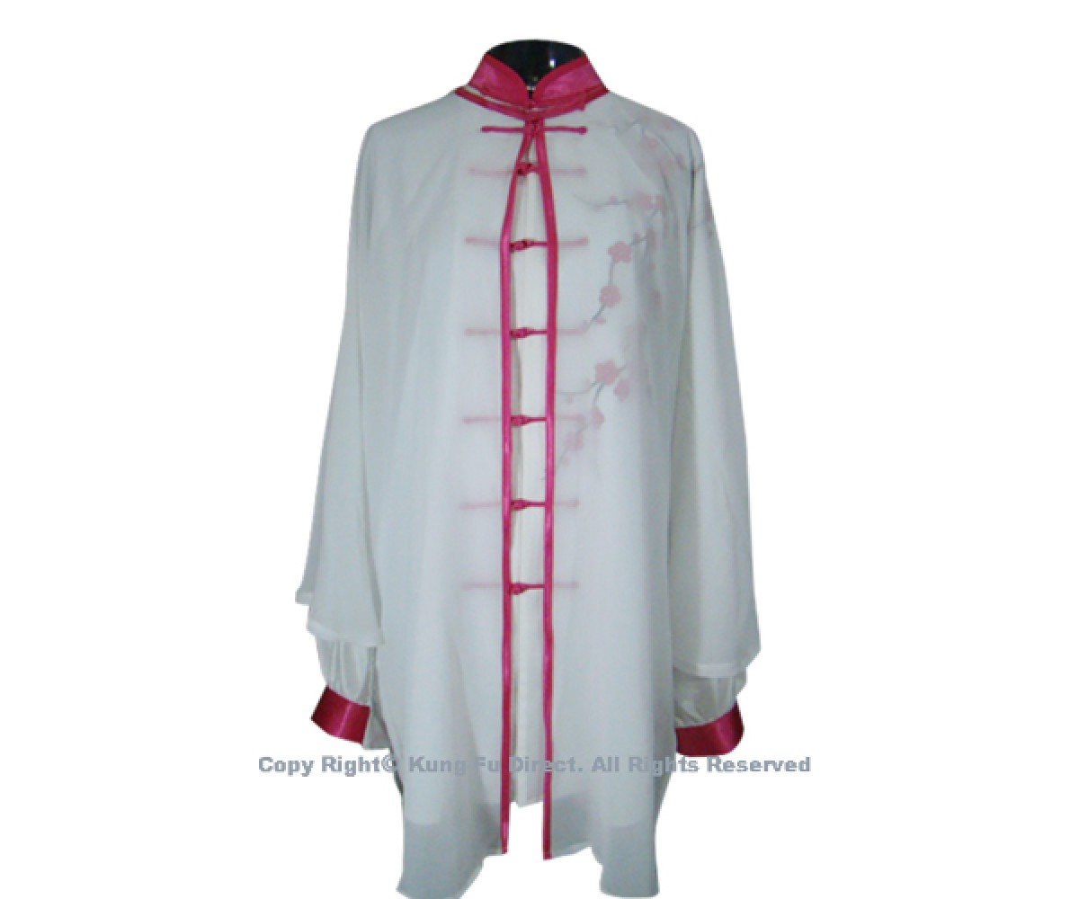 UC127 - White Shawl with Magenta Trim and Button- Shawl Only