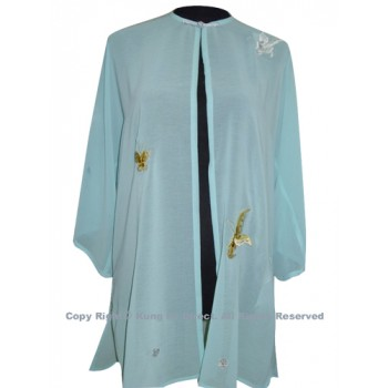 UC128 - Light Blue Shawl with Butterfly Embroidery