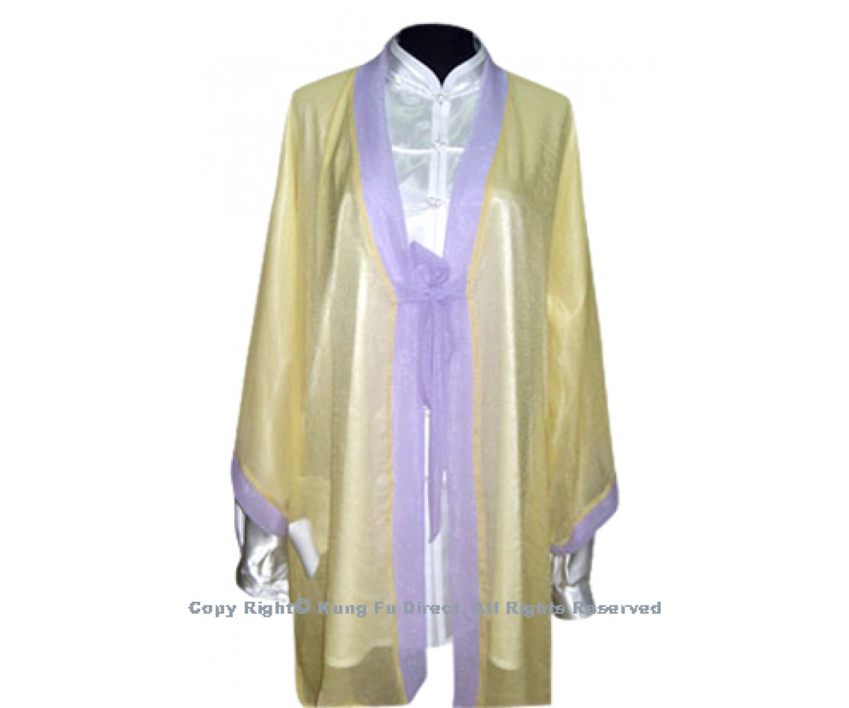 UC129 - Yellow Shawl with Light Purple Trim- Shawl Only