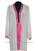 UC130 - White Shawl with Magenta Trim