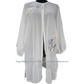 UC132 - White Shawl with Butterfly/Flower Embroidery