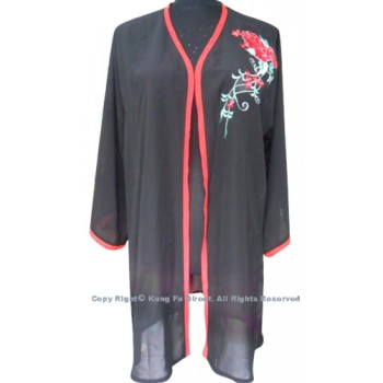 UC134 - Black Shawl with Red Flower Embroidery/Trim