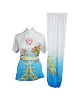 UC200 - White and Blue Gradient Fancy Design Embroidery
