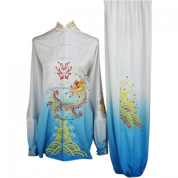 UC201 - White and Blue Gradient Fancy Design Embroidery Long Sleeves