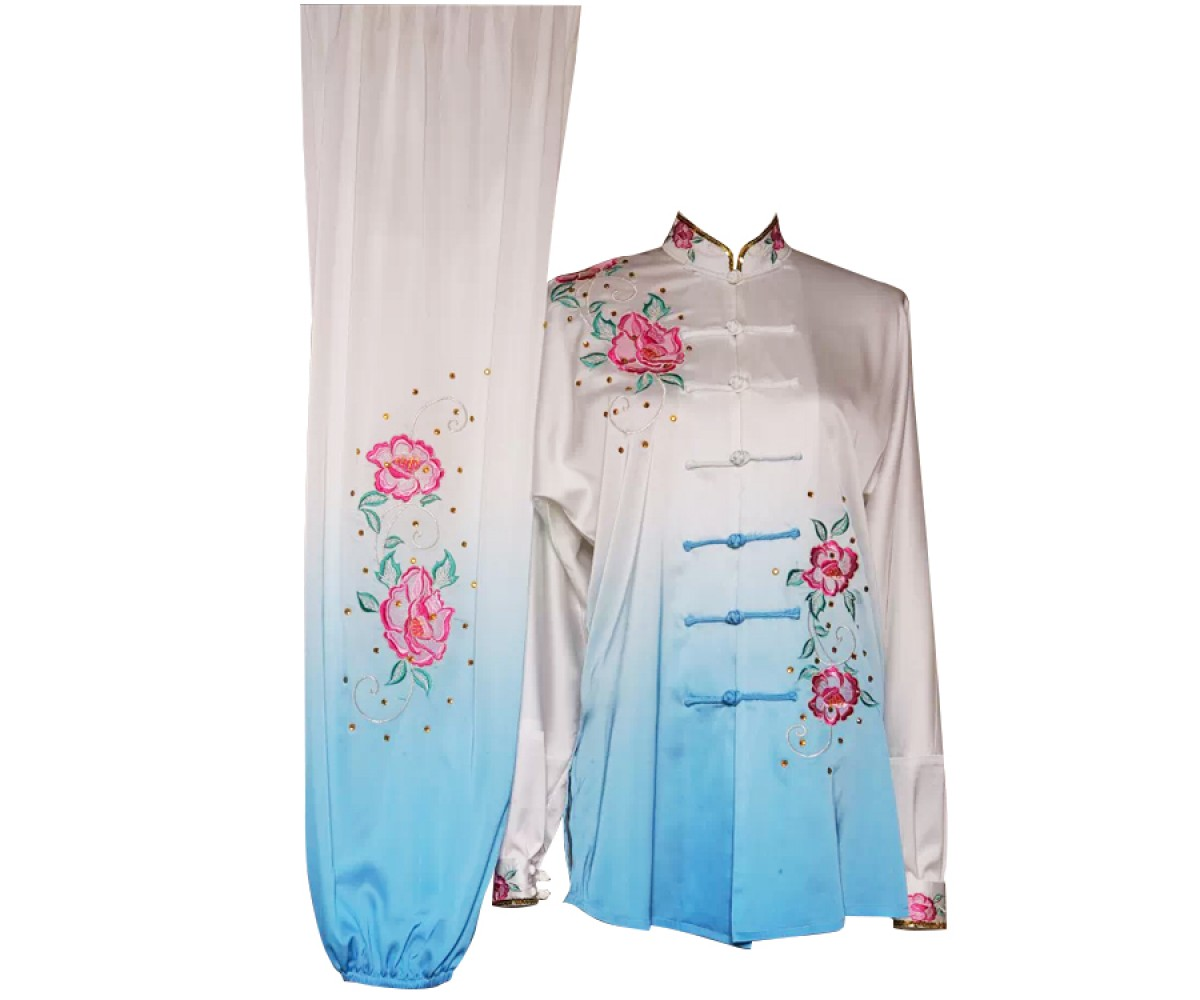 UC202 - White and Blue Gradient Flower Design Embroidery Long Sleeves