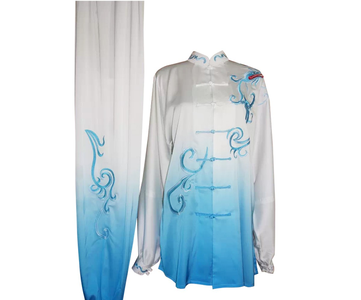 UC203 - White and Blue Gradient Phoenix Embroidery Long Sleeves