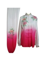 UC205 - White and Pink Gradient Flower Embroidery Long Sleeves