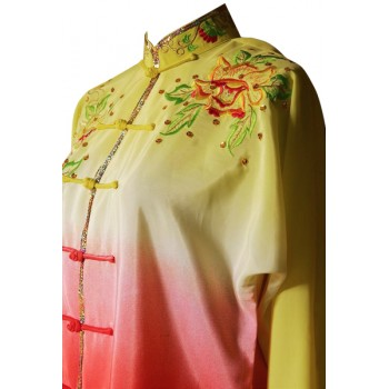 UC207 - Yellow and Red Gradient Flower Embroidery Long Sleeves