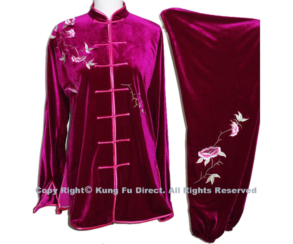 UC307 - Professional TaiChi Velvet Uniform in Hot Pink
