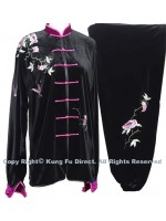 UC308 - Professional TaiChi Velvet Uniform in Black/Pink Trim