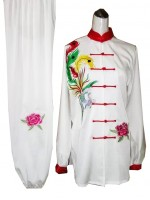 UC401 - Tai Chi Uniform in White/Red with Phoenix Embroidery