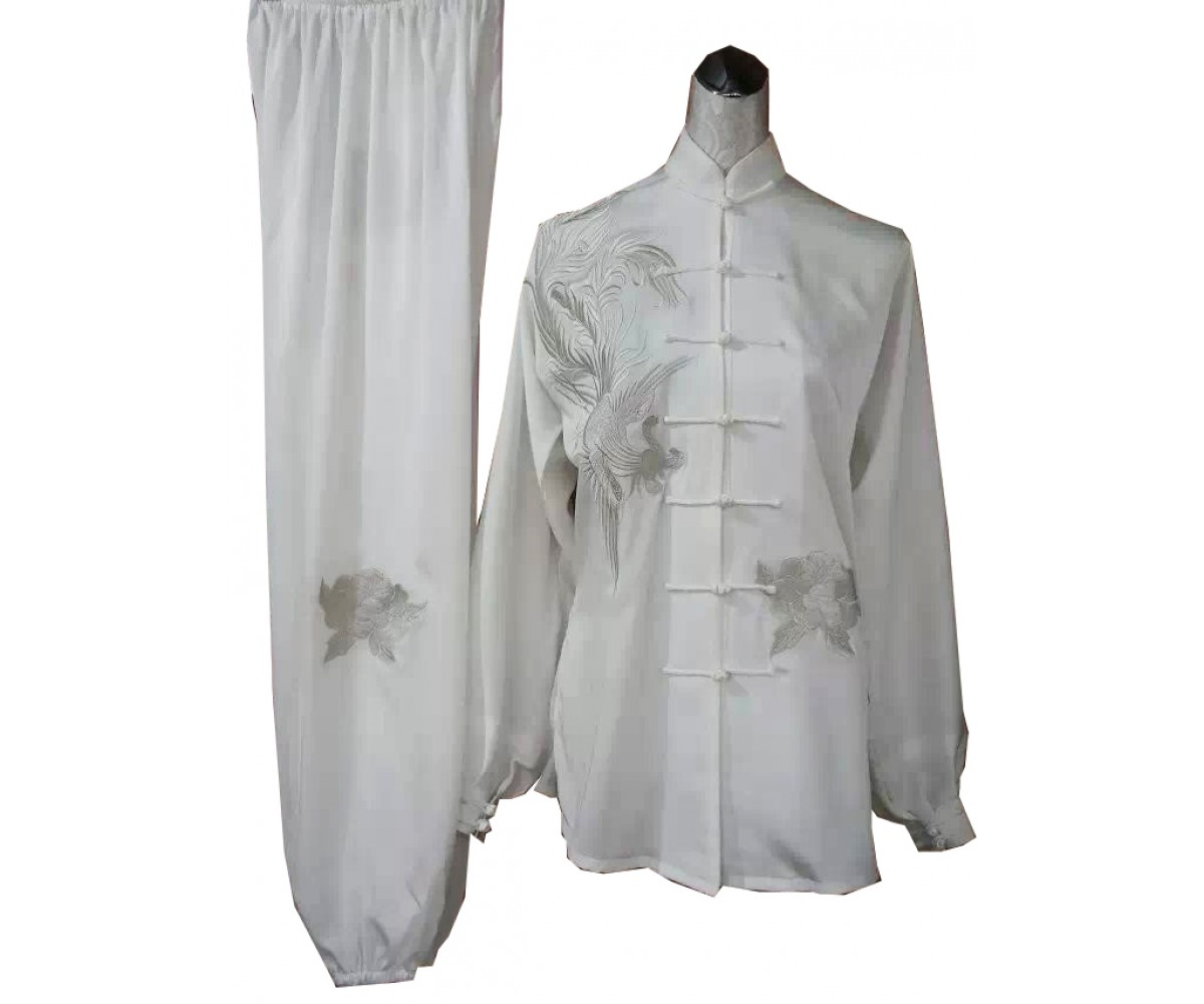 UC402 - Tai Chi Uniform in White with Silver Embroidery