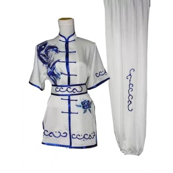 UC404 - White Uniform with Blue Trim and Embroidery