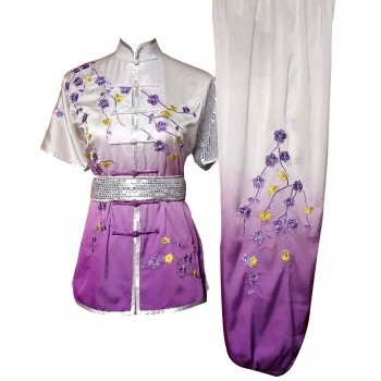 UC526 - White to Purple Uniform with Flower Embroidery