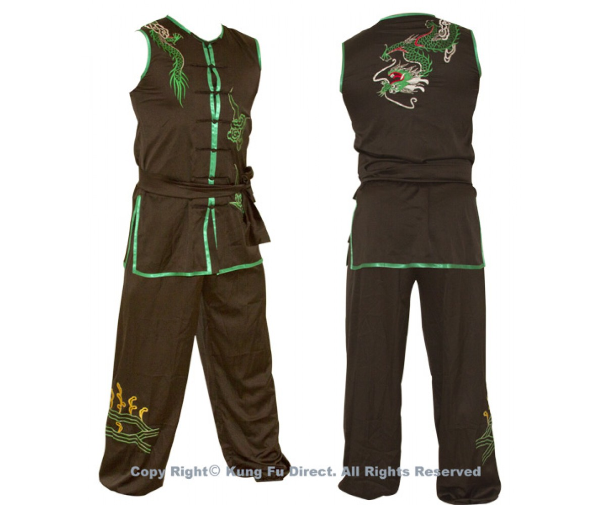 UC069 - Black-uniform-embroidery-with-green-dragon