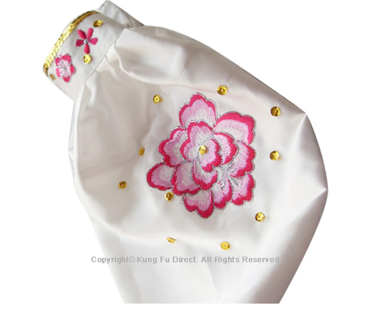 UC803 - White Uniform With Pink Flower Embroidery and White Jewel