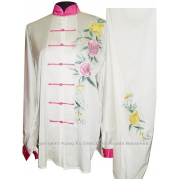 UC810 - White Uniform With Peony Flower Embroidery and Pink Button