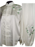 UC812 - White Uniform With White/Green PeonyFlower Embroidery