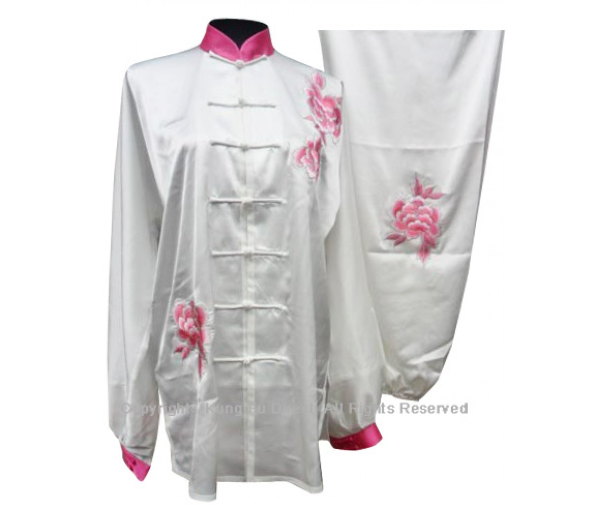 UC813 - White Uniform With Pink Peony Flower Embroidery