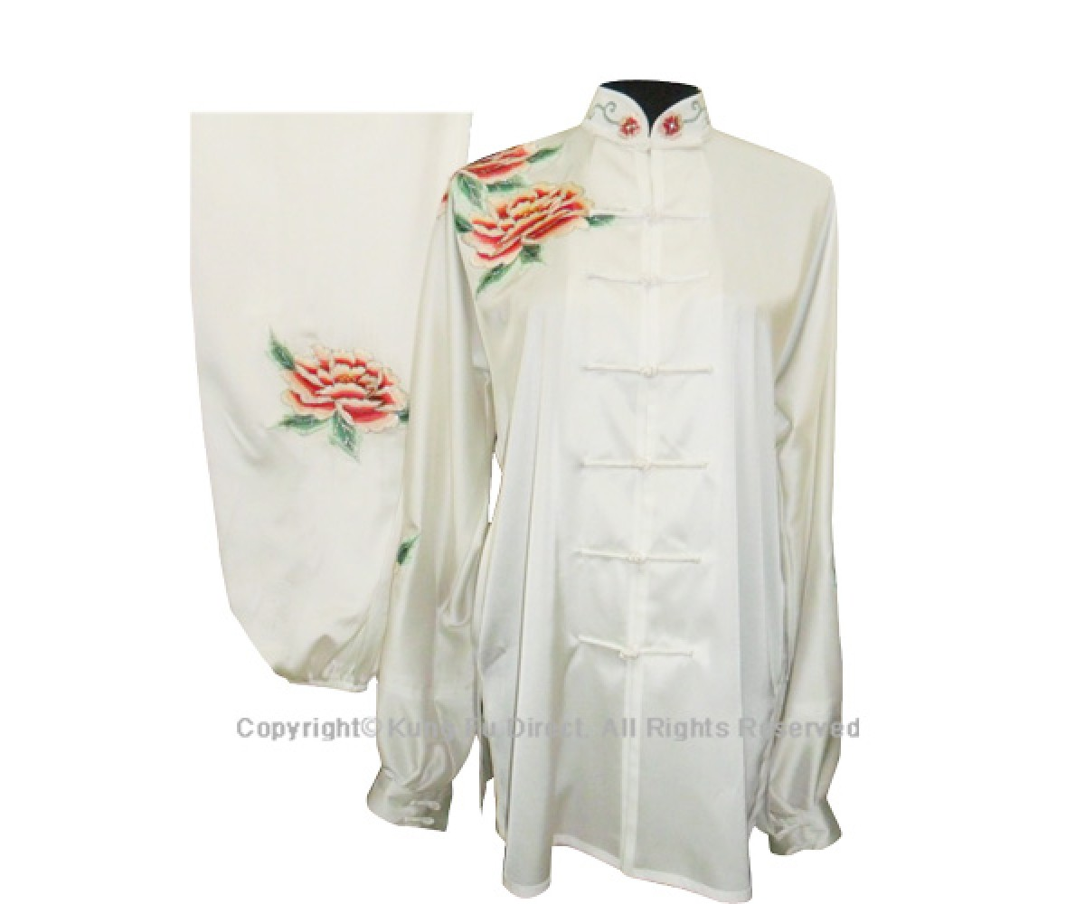 UC814 - White Uniform With Peony Flower Embroidery