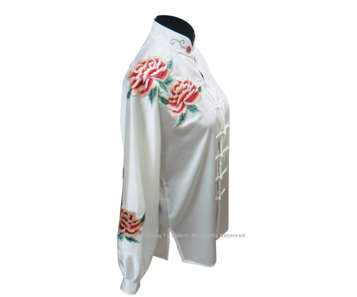 UC815 - White Uniform With Pink Peony Flower Embroidery 2
