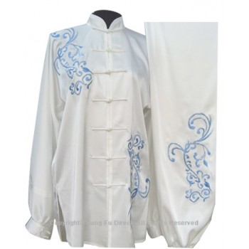 UC822 - White Uniform With Light Blue Flower Embroidery