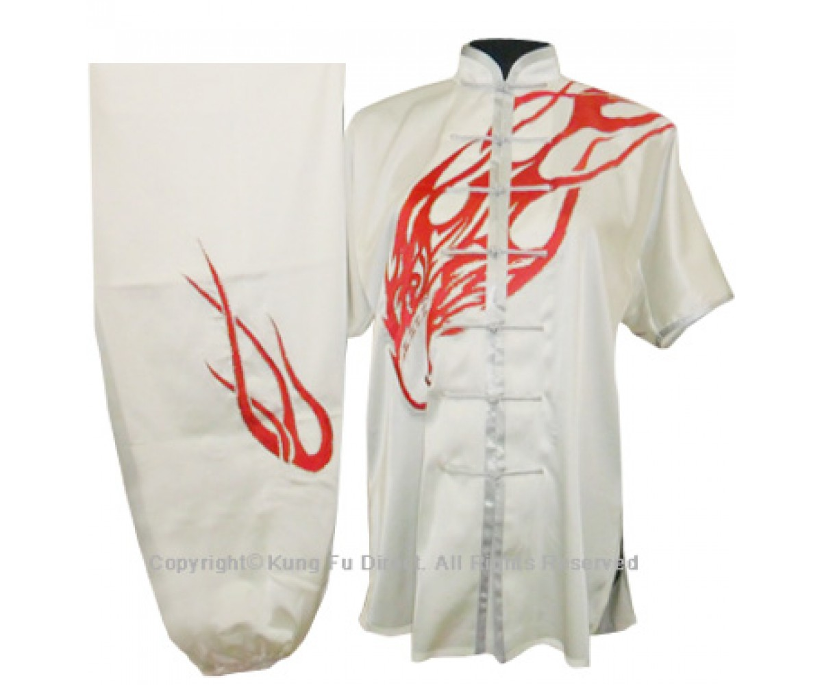 UC035 - White Uniform with Abstract Eagle Embroidery