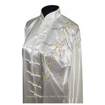 UC841 - White Uniform with Filled Blossom Embroidery