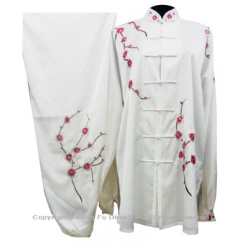 UC854 - White Uniform with Filled Pink Blossom Embroidery