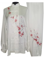 UC856 - White Uniform with Filled Red Blossom Embroidery
