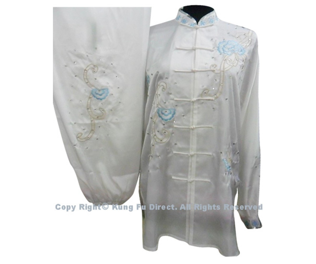 UC876 - White Uniform With Light Blue Flower Embroidery and White Jewel