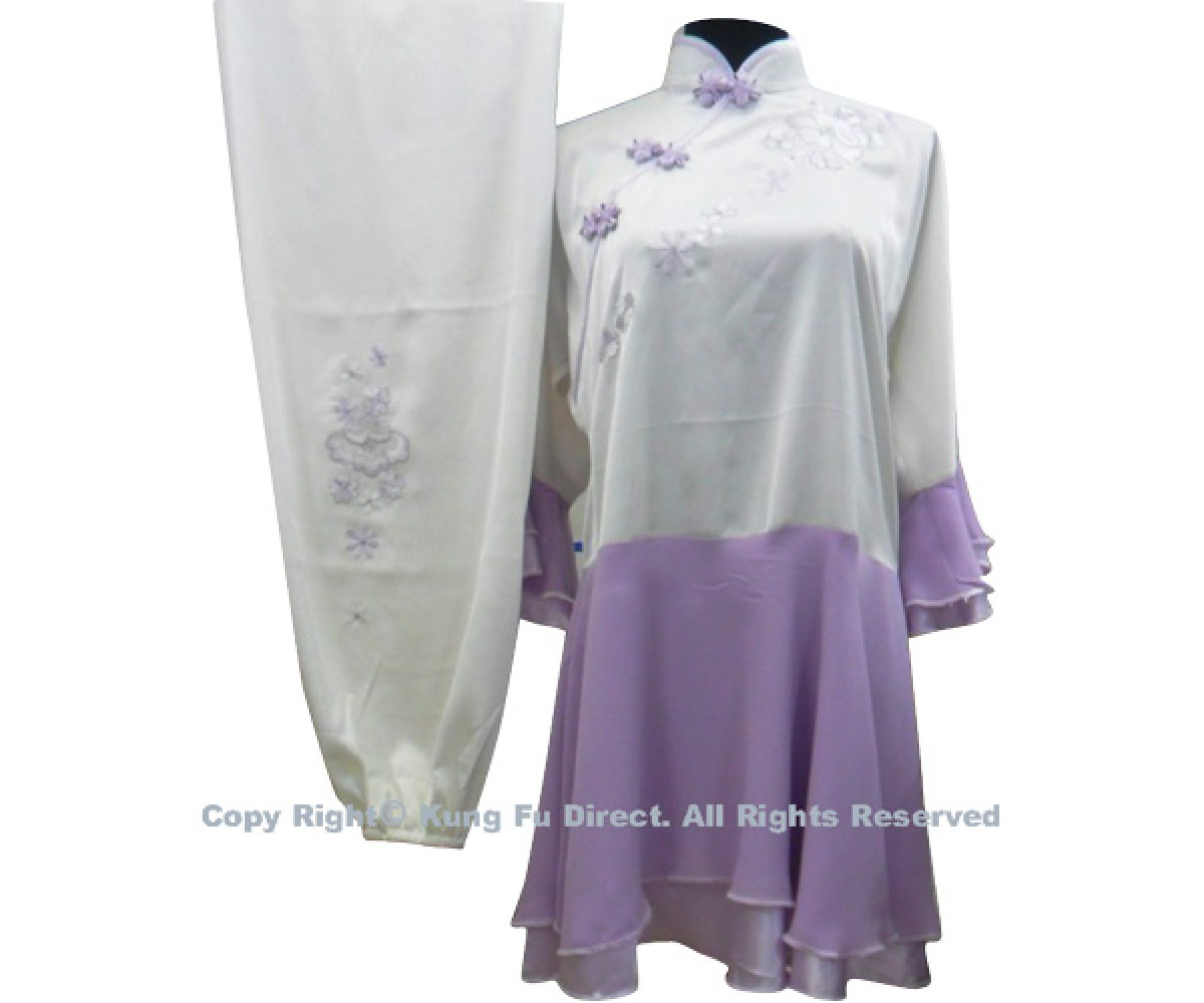 UC879 - White Uniform With Purple Skirts and Flower Embroidery