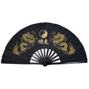 Fan07 - Black Twin Golden Dragon Fan 15 inch