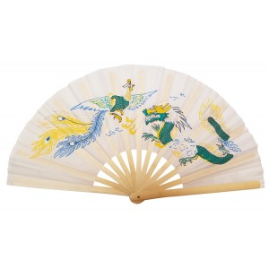 Fan20 -Dragon Phoenix White Fan
