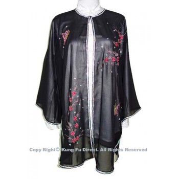 UC135 - Black Shawl with Flower Embroidery/Sliver Color Trim