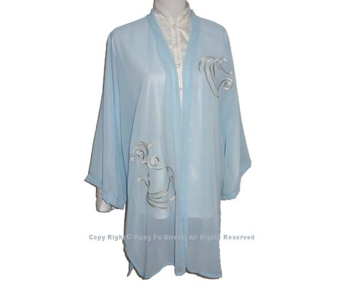 UC136 - Light Blue Shawl with Flower Embroidery