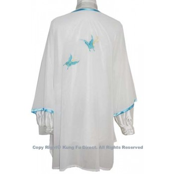 UC137 - White Shawl with Blue Leaf Embroidery