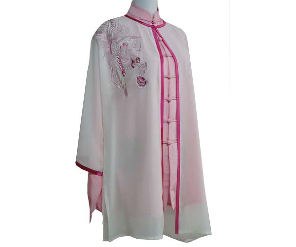 UC138 - White Shawl with Phoenix Embroidery Red Trim