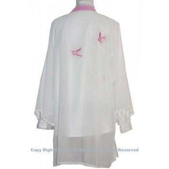 UC140 - White Shawl with Pink Butterfly