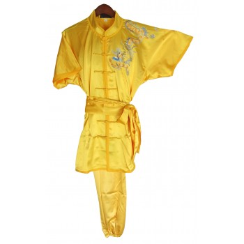U0727 - Golden Yellow Satin Uniform with Dragon Embroidery