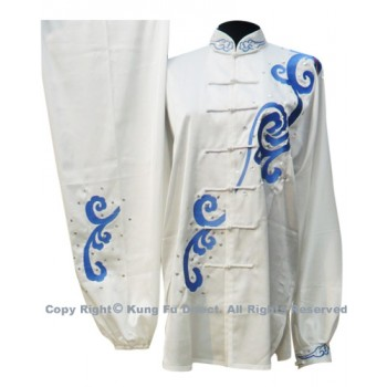UC065 - White Uniform with Blue Abstract Dragon Embroidery