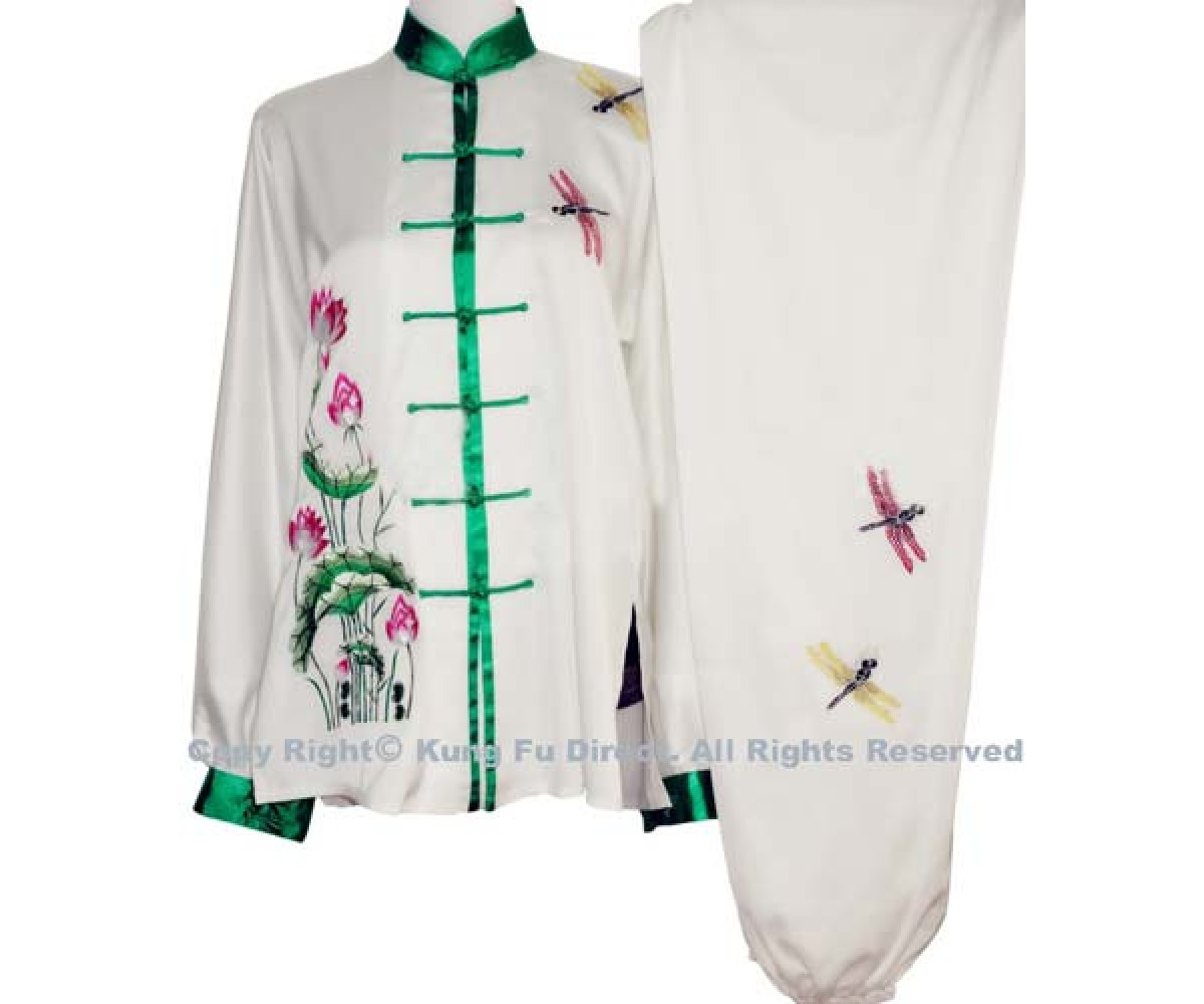 UC849 - White Uniform with Green Lotus Flower Embroidery